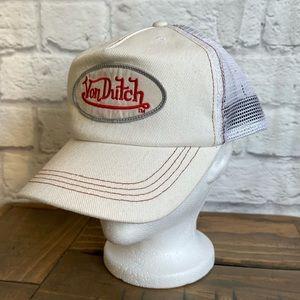 VON DUTCH Kustommade Originals NWOT White Trucker Snapback Hat Cap